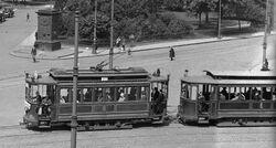 Tramwaj na pl. Krasińskich (przed 1939)