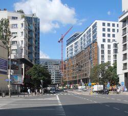 Ulica Grzybowska na wysokości ulicy Granicznej