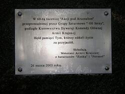 Tablica na kamieniu pamiątkowym Akcja pod Arsenalem