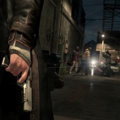 Aiden találkozik néhány banditával egy sikátorban