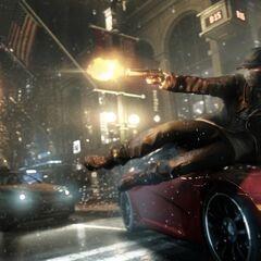 Aiden átcsúszik egy autó motorháztetőjén