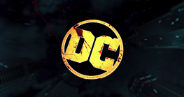 DC Comics logo with blood on it