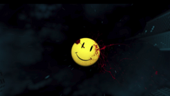 Watchmen smiley face logo with blood on it