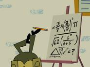Kidswatter solves an equation upside-down