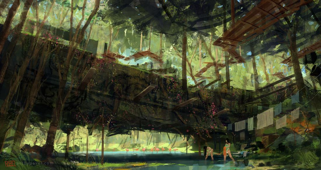 Forest Fantasy City Art