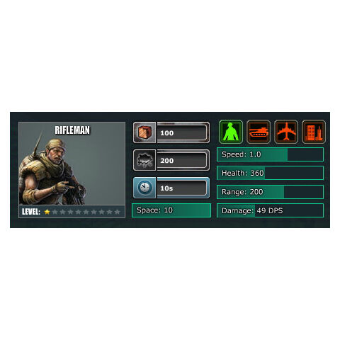 Level 1 Stats (Barracks Level 1)