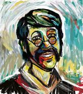 John Bratby-Inspired Nick Lightbearer Painting