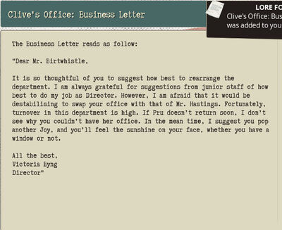 Clive's Office Business Letter
