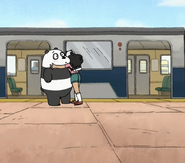Amanda hugging Panda