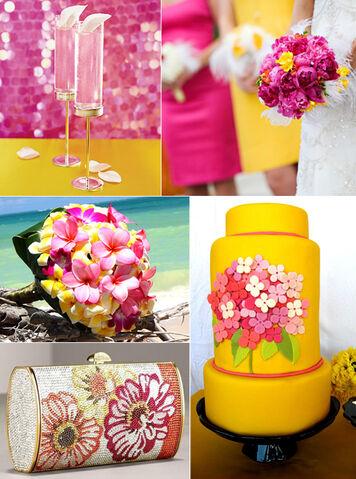 File:Pink yellow wedding cake dresses cocktails flowers inspiration board.jpeg