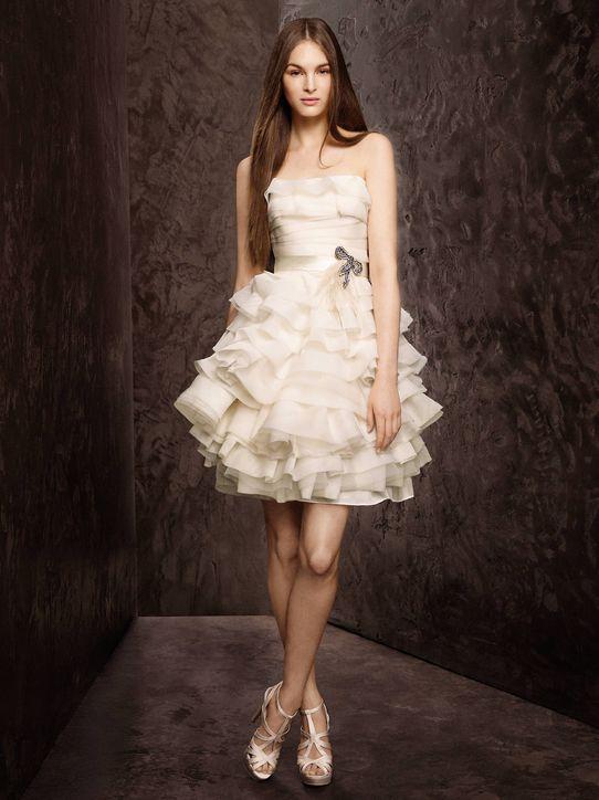 1 New White By Vera Wang Short Wedding Dresses Davids Bridal 0111 H724