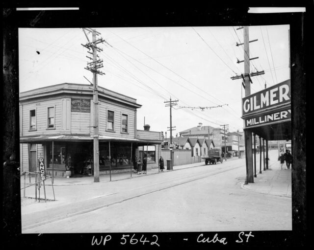 Wong She and Co Fruit Merchants and Gilmers Millinery on the corner of Abel Smith Street and Cuba Street
