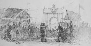Straatscene in Koningslanding - Marc Fishman