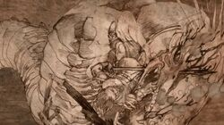 Grauwe Koning in gevecht met Nagga