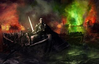 800px-Stannis Baratheon with Lightbrighter at Blackwater by WillHarrisArt