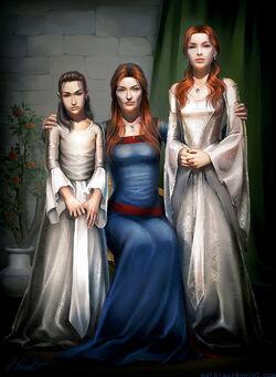 Lady Stark z córkami Sansą i Aryą