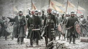 Stannis i jego ludzie za Murem