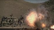 Gatling gun wagon close explosion