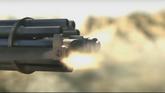 Gatling gun muzzle flashes