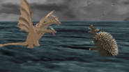 Ghidorah vs Anguirus Godzilla Returns
