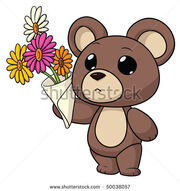 Stock-vector-cute-cartoon-teddy-bear-holding-a-bouquet-of-flowers-50038057-1-