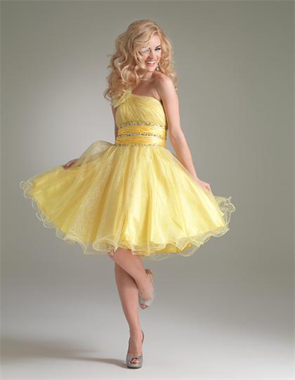 Image One Shoulder Organza Cute Yellow Short Mini Prom Dressespng