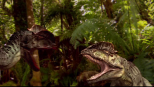 Dilophosaurus fighting