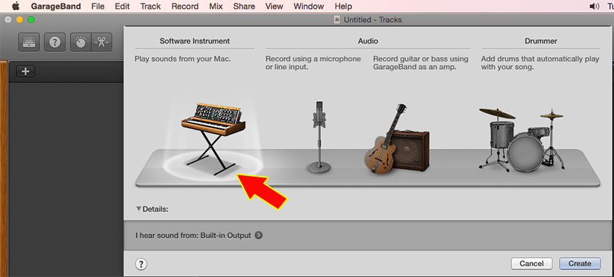 Inserting Plugin Instruments in GarageBand