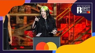 Billie Eilish wins International Female Solo Artist - The BRIT Awards 2020