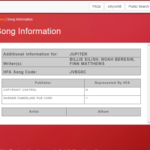 A screenshot of the song on Songfile.
