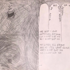billie's notebook pages on Bury a Friend