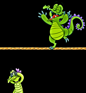 Swampy the high wire gator