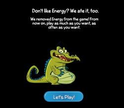 Cranky eats the energy bar!