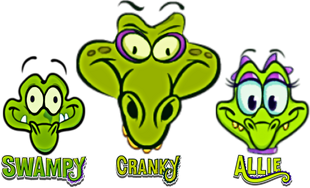 Swampy, Allie and Cranky head and logo