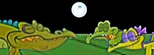 Swampy, his girlfriend Allie and Cranky sleeping under the moonlight