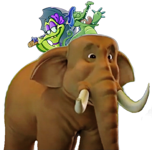 Swampy singing a love song to his girlfriend Allie....................on an Big Bull Indian Elephant