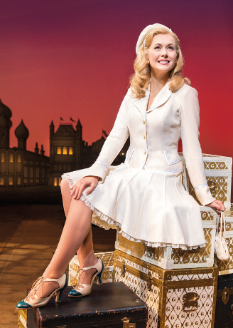 Easier (but less identifiable as Glinda) is the pink dress from Popular  (Megan Hilty):