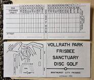 1981 Bratwurst City Frisbee scorecard