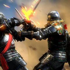 Rycerz La Valette (z prawej) walczący z Temerskim Rycerzem