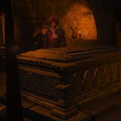 Anna Henrietta z Jaskrem podczas pogrzebu Syanny