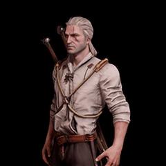 Skórka Geralta w lnianej koszuli