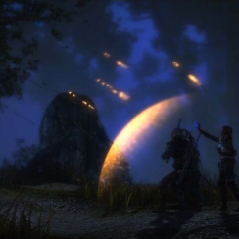 Triss używająca mocniejszej wersji czaru ochrony w grze Wiedźmin 2