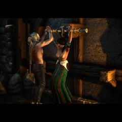 Geralt uwalnia baronową z okowów