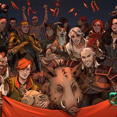 Geralt na tapecie świętującej Rok Dzika