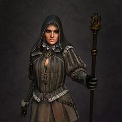 Cynthia w typowym dla nilfgaardzkiej mody stroju.