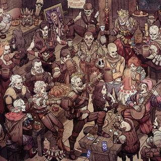 Filippa Eilhart pod postacią sowy na tapecie świętującej 1. urodziny gry <i>Wiedźmin 3</i>