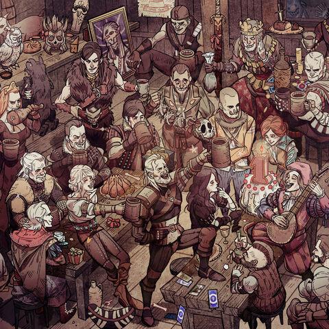Kalkstein na tapecie świętującej 1. urodziny gry <i>Wiedźmin 3</i>