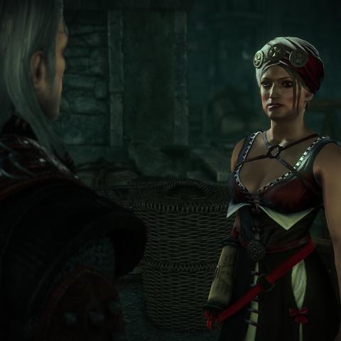 Geralt rozmawiający z Cori w Loc Muinne