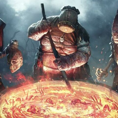 Obraz utworzony z grafik kart trzech Wiedźm w grze <i>GWINT: Wiedźmińska Gra Karciana</i>