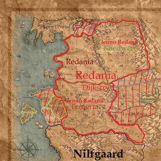 Granice Redanii Dijkstry (pionowe linie - prawdopodobne zjednoczenie lub sojusz bez podboju)